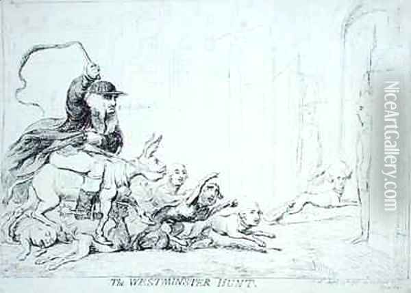 The Westminster Hunt Oil Painting - James Gillray