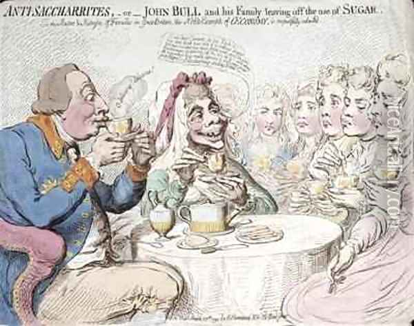 Anti Saccharites or John Bull and his Family leaving off the use of Sugar Oil Painting - James Gillray