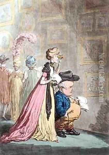A Peep at Christies or Tally ho and his Nimeney pimmeney Taking the Morning Lounge Oil Painting - James Gillray