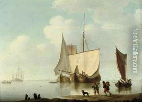 Dutch Barges At Anchor In A Calm Oil Painting - William Anderson