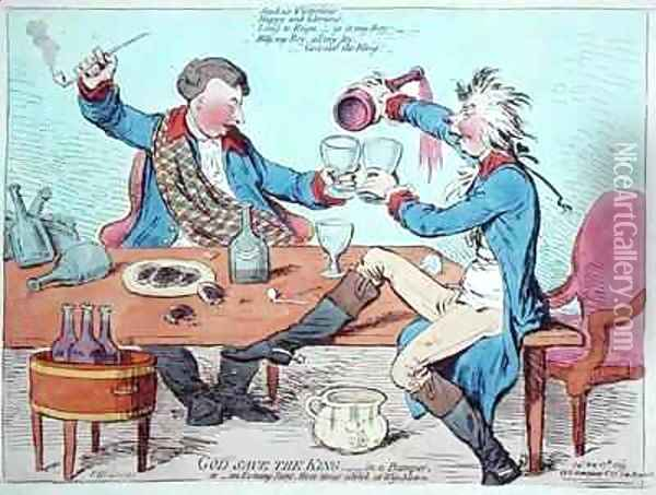 God Save the King in a bumper or An Evening Scene Three Times a Week at Wimbleton Oil Painting - James Gillray