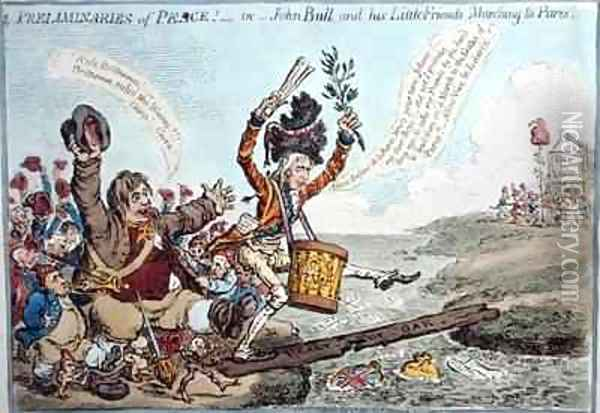 Preliminaries of Peace or John Bull and his Little Friends Marching to Paris 2 Oil Painting - James Gillray