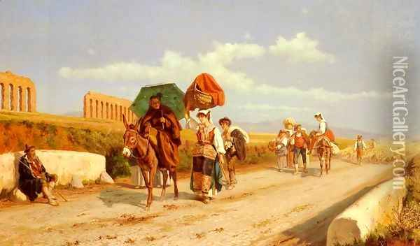 Travellers In The Roman Campagna Oil Painting - Pietro Gabrini