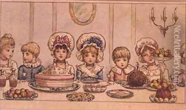 Supper from Christmas in Little Peopleton Manor in Illustrated London News Christmas Oil Painting - Kate Greenaway