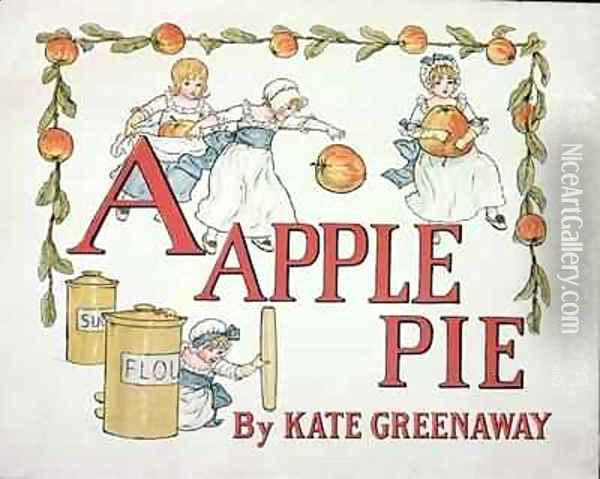 Illustration for the letter A from Apple Pie Alphabet Oil Painting - Kate Greenaway