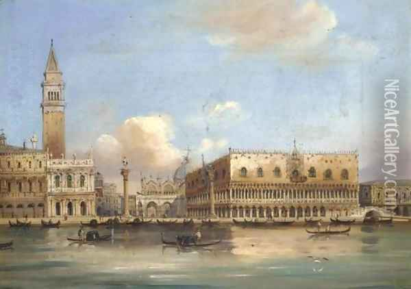 View of the Doge's Palace and St. Mark's Square from the Grand Canal Oil Painting - Carlo Grubacs