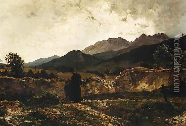 Cemetery in the Mountains Oil Painting - Wojciech Gerson