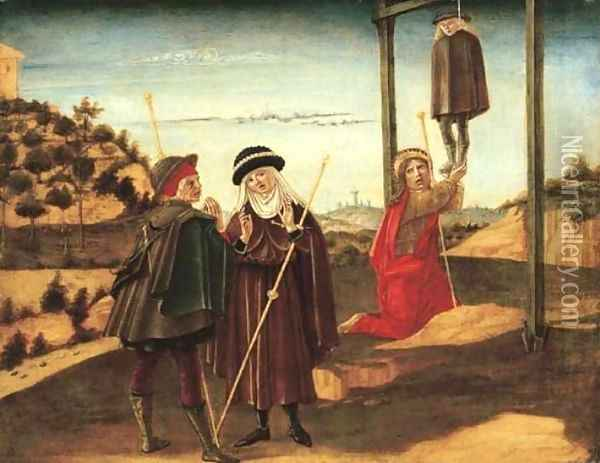 Saint James the Greater rescuing the pilgrim unjustly condemned to death at Toulouse (panel from a predella) Oil Painting - Benvenuto Di Giovanni Guasta