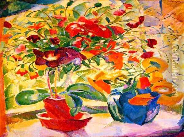 Flowers on Windowsill Oil Painting - Leo Gestel