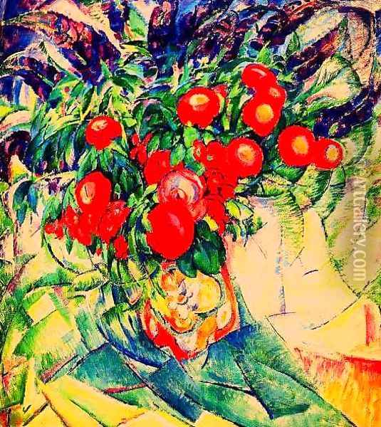 Still Life with Peonies Oil Painting - Leo Gestel