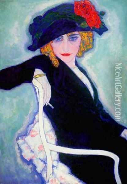 Woman with Cigarette, hat Oil Painting - Leo Gestel