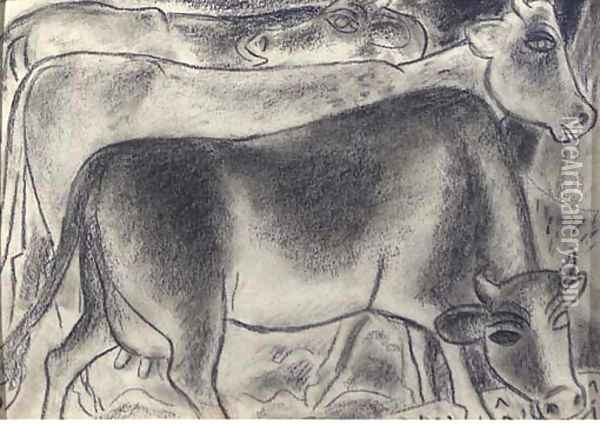 Cows Oil Painting - Leo Gestel