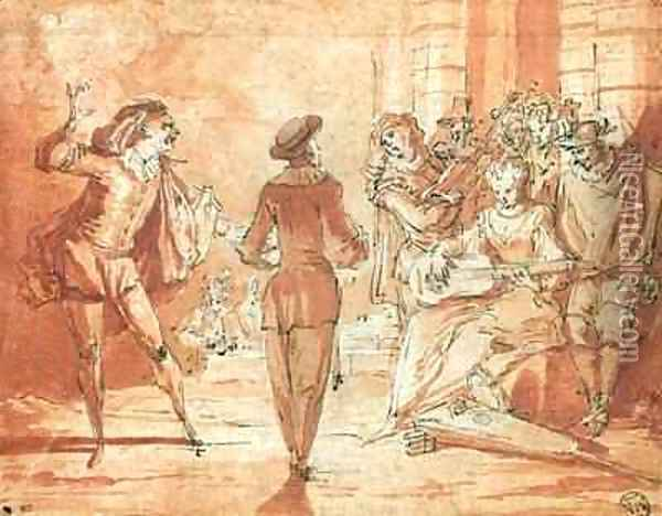 Theatrical Scene Oil Painting - Claude Gillot
