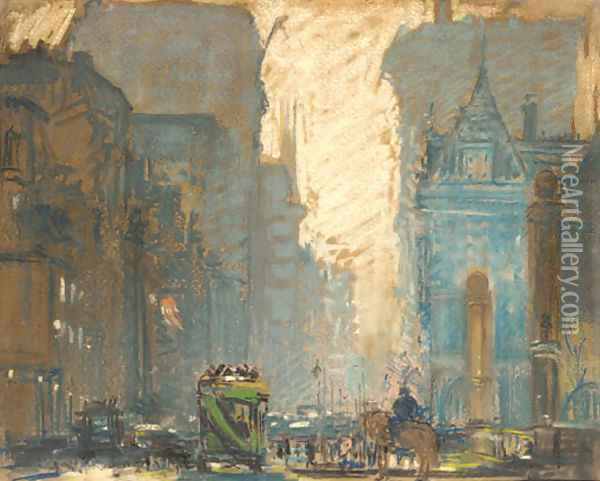 Fifth Avenue at 59th Street Oil Painting - Arthur C. Goodwin