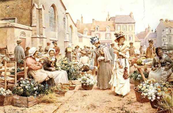 Flower Market in a French Town Oil Painting - Alfred Glendening