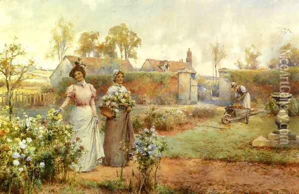 A Lady And Her Maid Picking Chrysanthemums Oil Painting - Alfred Glendening