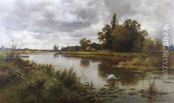 The Thames near Laleham Ferry Oil Painting - Alfred Glendening
