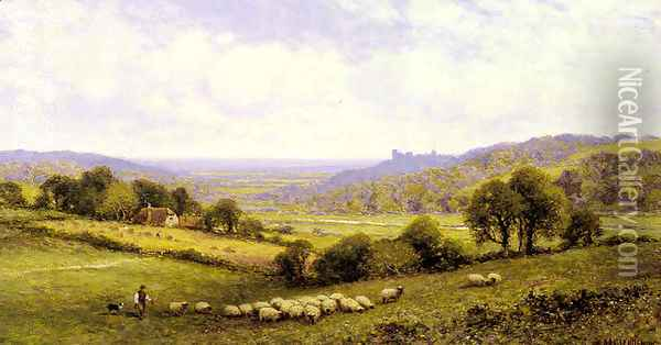 Near Amberley, Sussex, with Arundel Castle in the Distance Oil Painting - Alfred Glendening