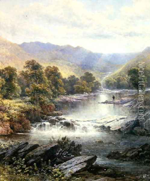 An Angler in a River Valley Oil Painting - Alfred Glendening