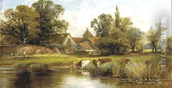 On the river Oil Painting - Alfred Glendening