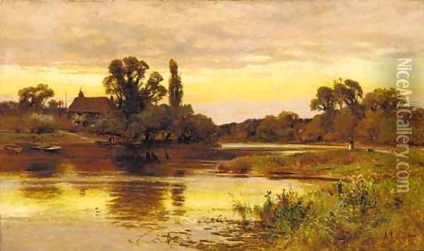 On the Thames, Laleham Oil Painting - Alfred Glendening
