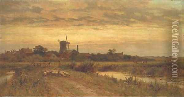 A summer's evening Oil Painting - Alfred Glendening