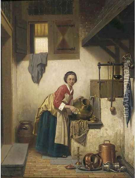 'Ik ben zoo klaar met schuren' a scullery maid at work Oil Painting - Charles Joseph Grips