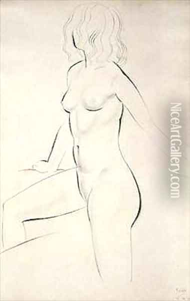Standing Female Nude Oil Painting - Eric Gill
