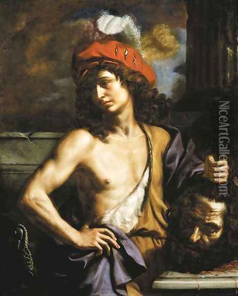 David with the head of Goliath Oil Painting - Benedetto Gennari