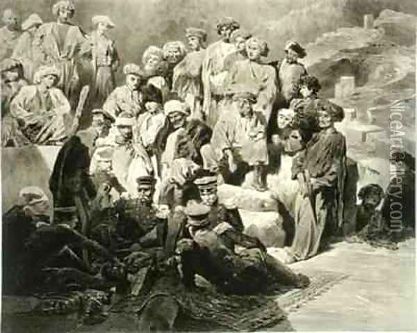 Military Meal in the Ruins at Sioukh Dagestan plate 69 from a book on the Caucasus Oil Painting - Grigori Grigorevich Gagarin