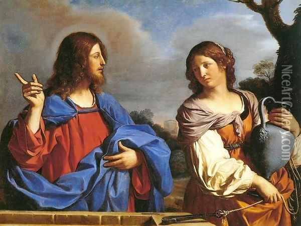 Jesus and the Samaritan Woman at the Well Oil Painting - Guercino