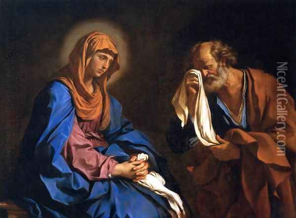 St Peter Weeping before the Virgin Oil Painting - Guercino