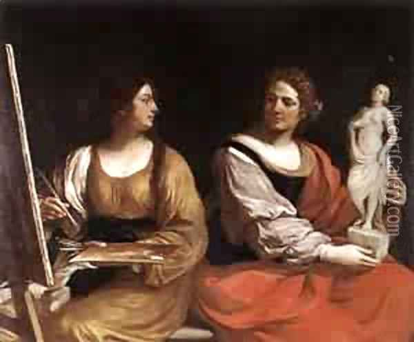 Allegory Of Painting And Sculpture 1637 Oil Painting - Guercino
