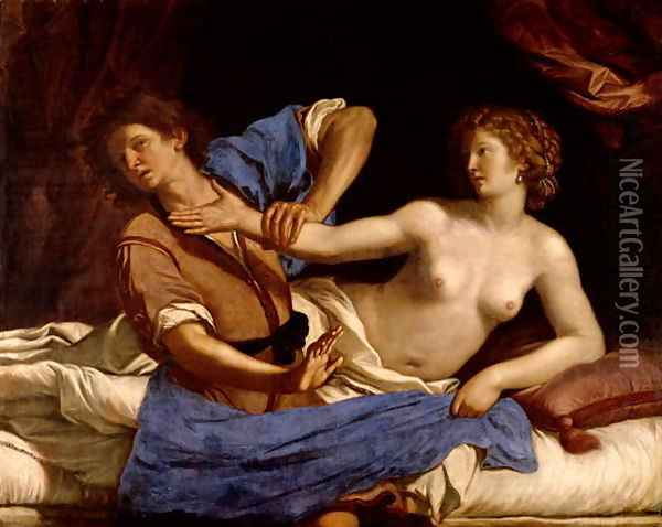 Joseph and the Wife of Potiphar 1649 Oil Painting - Guercino