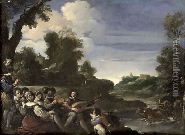 Concert Champetre 1617 Oil Painting - Guercino