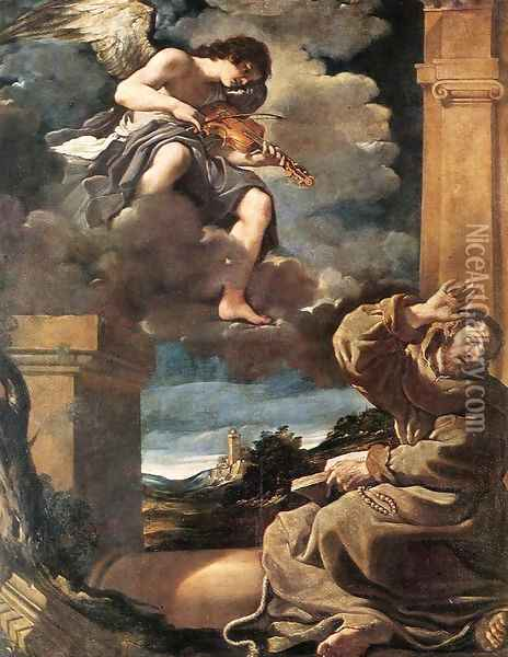 St Francis with an Angel Playing Violin Oil Painting - Guercino