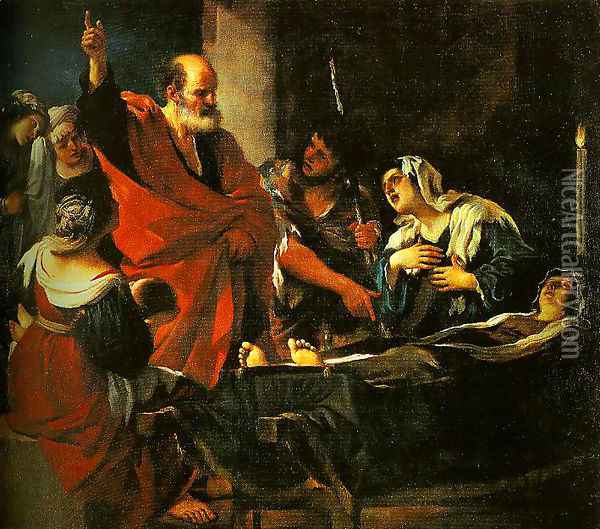 St Peter Revives Taitha Oil Painting - Guercino
