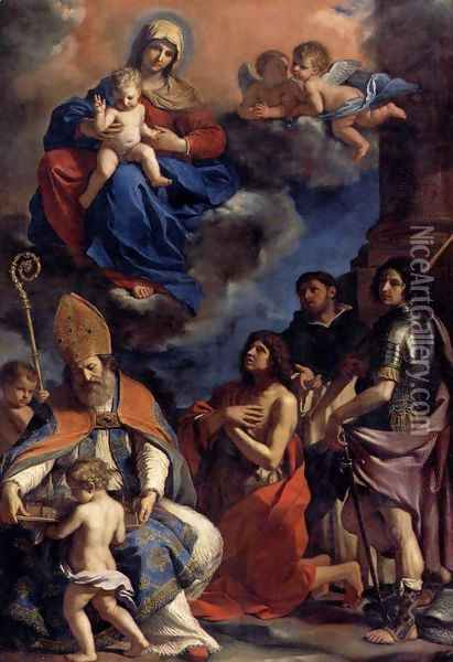 Virgin and Child with Four Saints Oil Painting - Guercino