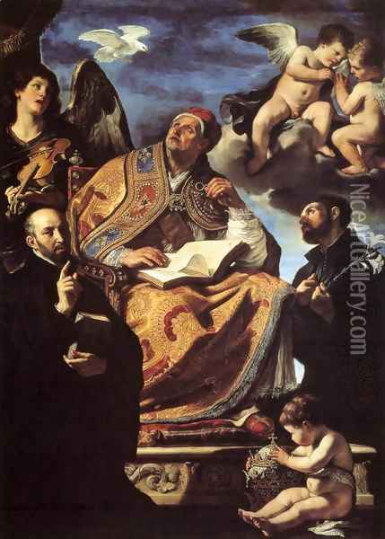 St Gregory the Great with Sts Ignatius and Francis Xavier Oil Painting - Guercino