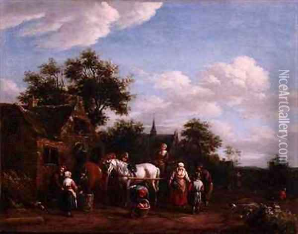 A Farriers Shop Oil Painting - Barend Gael or Gaal