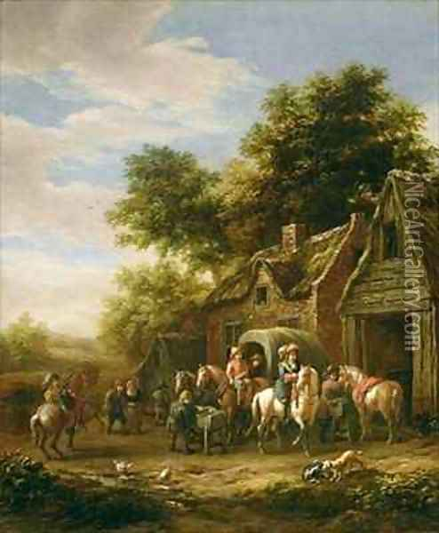 Landscape with travellers beside a cottage Oil Painting - Barend Gael or Gaal