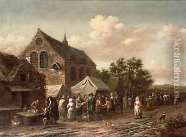 Poultry Market by a Church Oil Painting - Barend Gael or Gaal