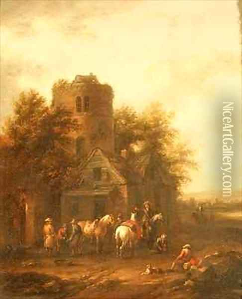 Riders Watering their Horses Outside a Tavern Oil Painting - Barend Gael or Gaal