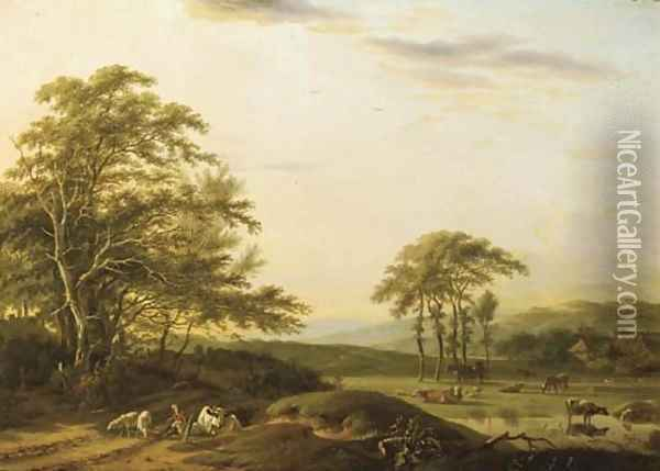 An Italianate river landscape with a shepherd and cattle Oil Painting - Barend Gael or Gaal