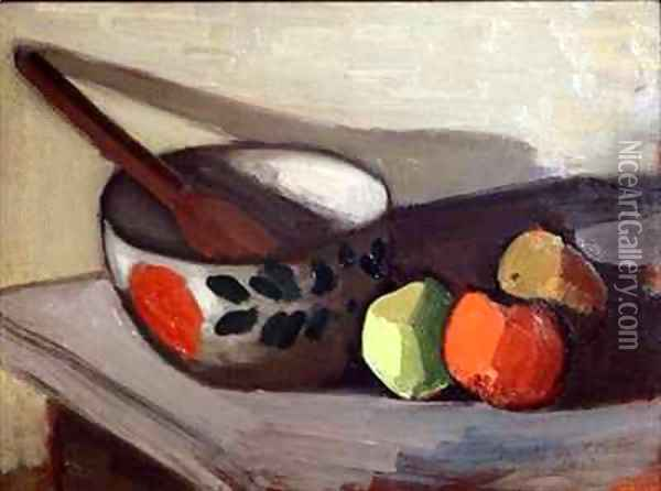 Bowl Spoon and Apples Oil Painting - Mark Gertler