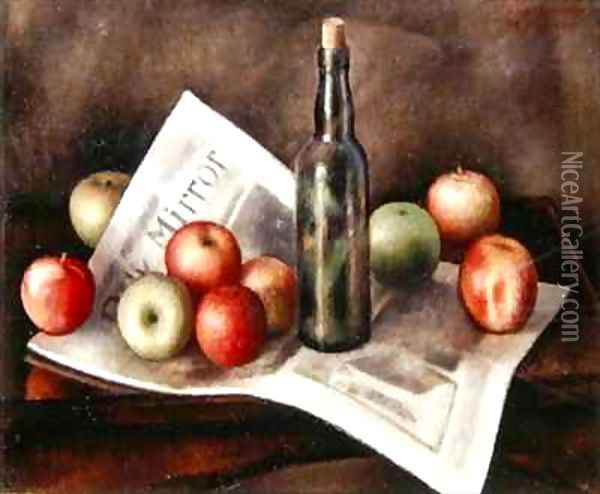 Still life with apples Oil Painting - Mark Gertler