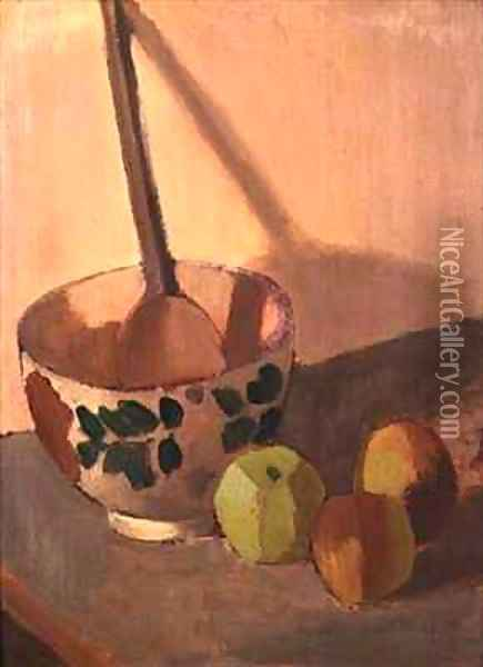 Still Life with Apples and a Mixing Bowl Oil Painting - Mark Gertler