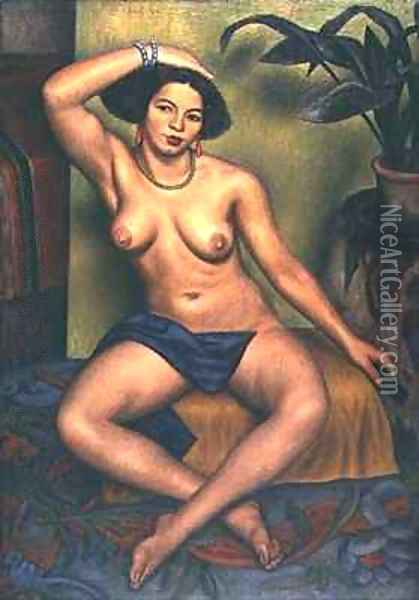 Seated Nude or Gypsy at her Toilet Oil Painting - Mark Gertler
