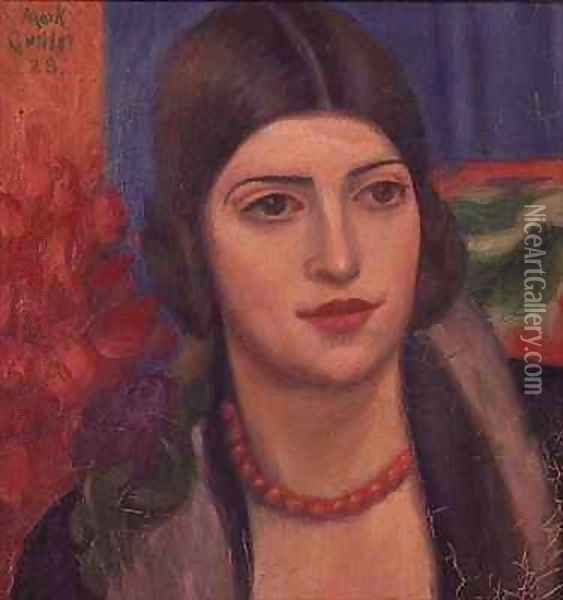 Portrait of a young woman Oil Painting - Mark Gertler