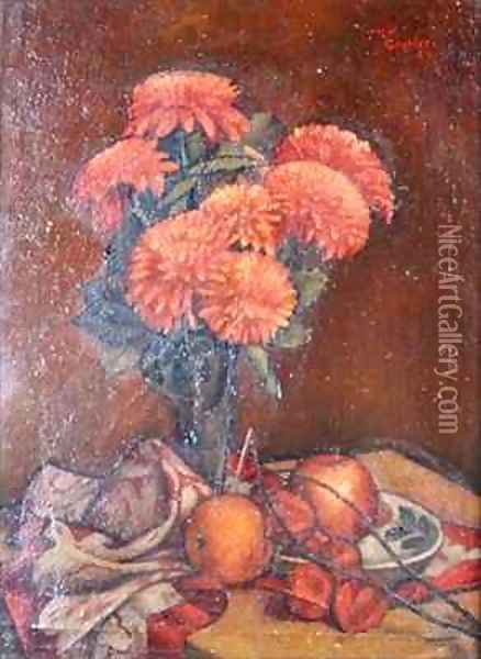 Still life with Chrysanthemums Oil Painting - Mark Gertler
